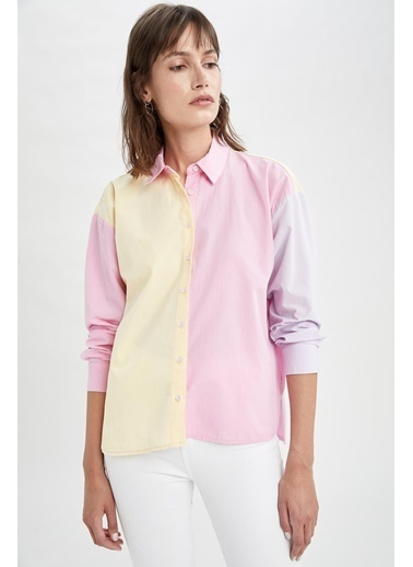 DeFacto Renk Bloklu Oversize Fit Poplin Gömlek Pembe